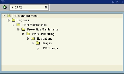 menu path of the SAP transaction CA72