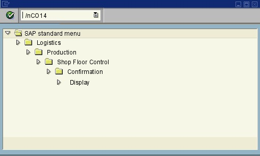menu path of the SAP transaction CO14