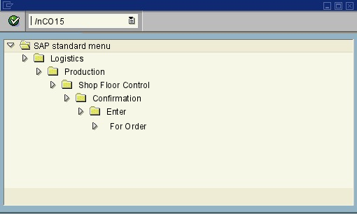 CO15 - Enter Production order Confirmation - SAP transaction