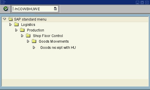 COWBHUWE - GR HU for Production Order - SAP transaction