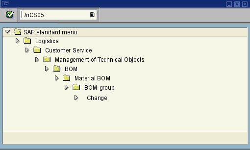 menu path of the SAP transaction CS05