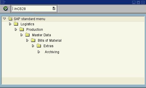 menu path of the SAP transaction CS28