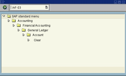 menu path of the SAP transaction F-03
