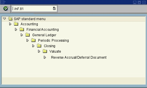 menu path of the SAP transaction F.81