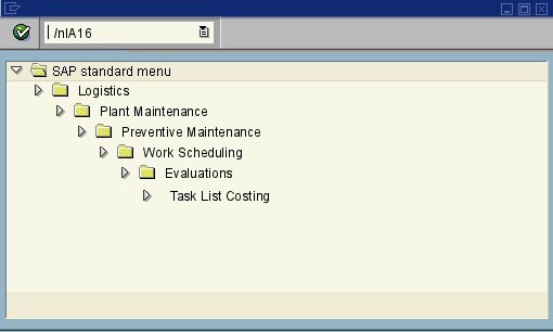 ia16 cost maintenance task lists sap transaction