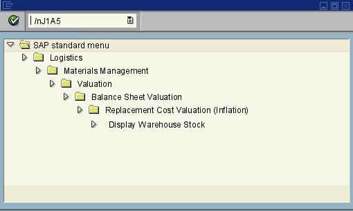 J1A5 - MM Warehouse stock report (Arg ) - SAP transaction