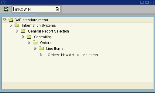 menu path of the SAP transaction KOB1N