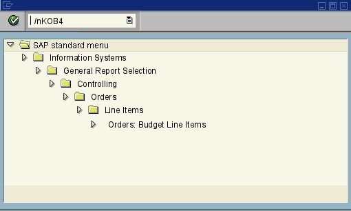 menu path of the SAP transaction KOB4