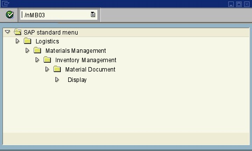 menu path of the SAP transaction MB03