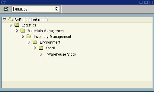 MB52 - List of Warehouse Stocks on Hand - SAP transaction