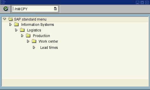 menu path of the SAP transaction MCPY