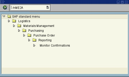 menu path of the SAP transaction ME2A