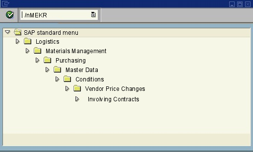 menu path of the SAP transaction MEKR