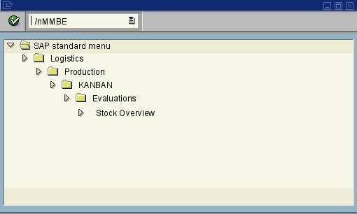 menu path of the SAP transaction MMBE