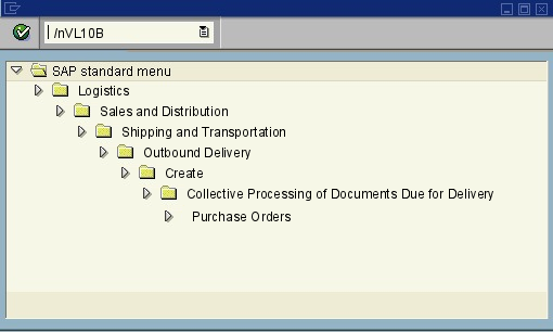 menu path of the SAP transaction VL10B