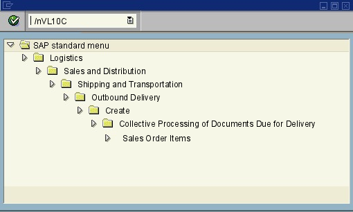 menu path of the SAP transaction VL10C