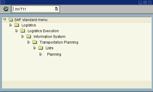 menu path of the SAP transaction VT11